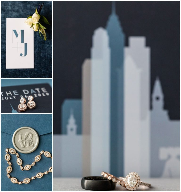 Philadelphia wedding invitation suite with skyscrapers, LOVE stamp, florals, and wedding rings for Tendenza Wedding
