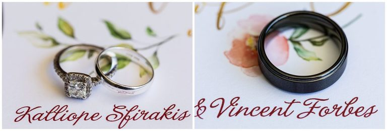 Wedding bands and engagement rings next to bride and grooms names on wedding invitation