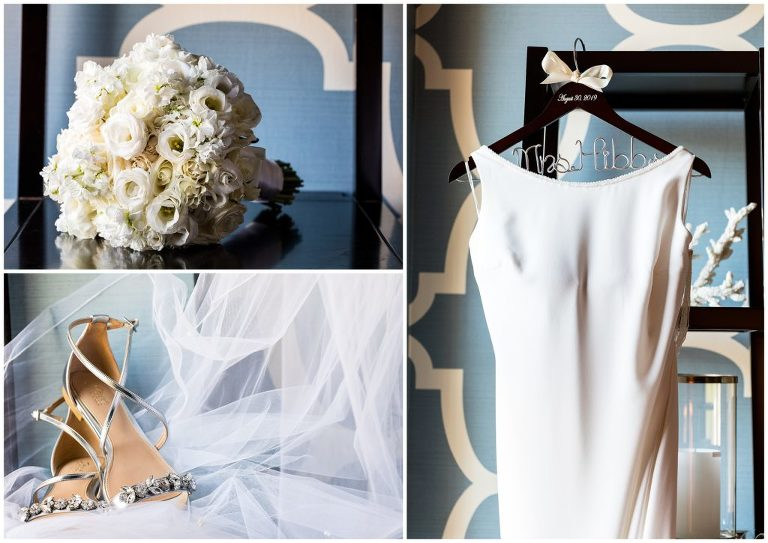 Bridal bouquet, shoes, veil, and wedding dress with Mrs hanger