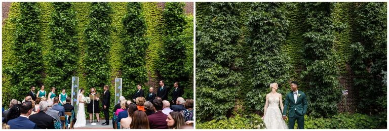 Ivy covered wall during wedding ceremony at the College of Physicians - Best Philadelphia wedding venues