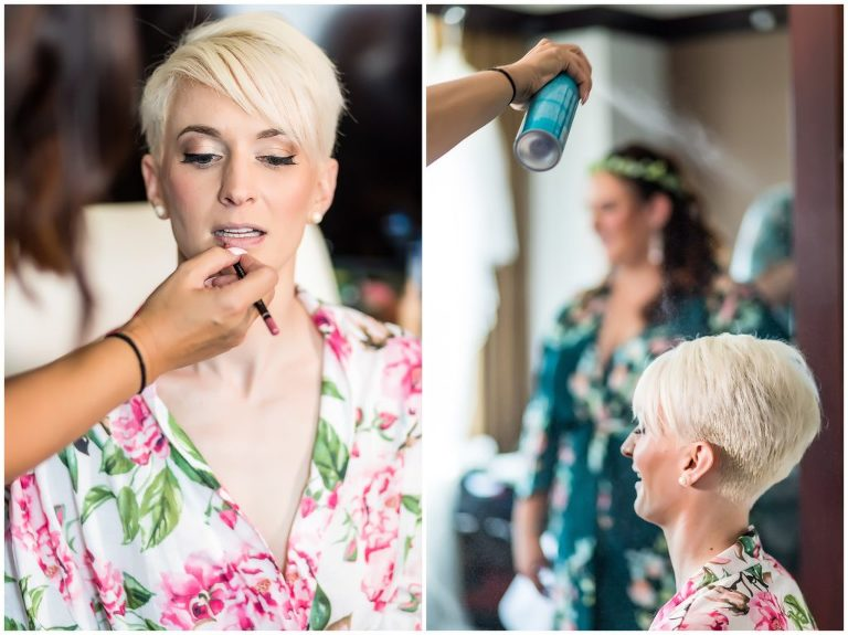 Bridal prep portrait in hair and makeup