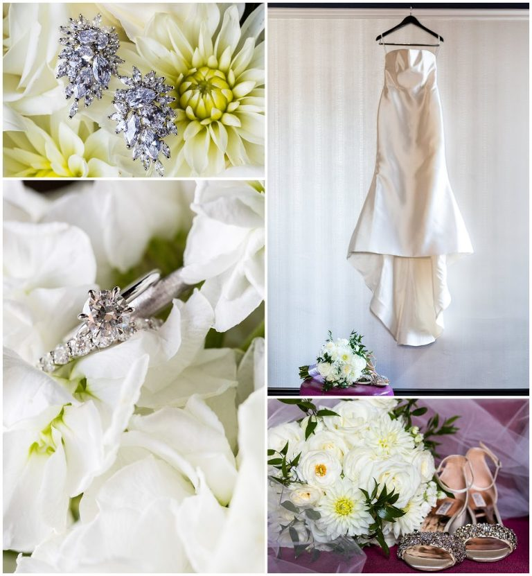 Elegant bridal details, wedding gown hanging with bouquet, wedding rings, earrings, and shoes with bouquet