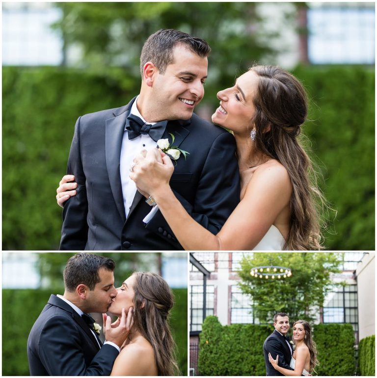 Bride and groom portraits with sweet smiles and kisses