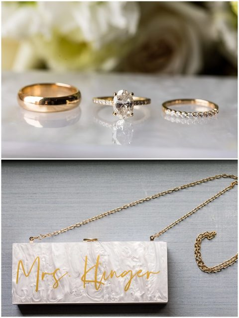 Gold wedding bands and engagement ring with custom mrs. purse