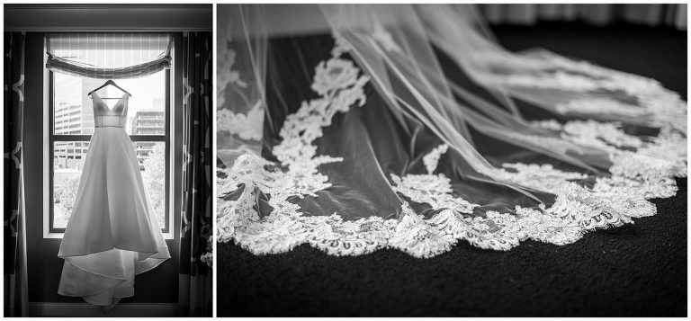 Black and white collage of silk wedding gown with long lace veil