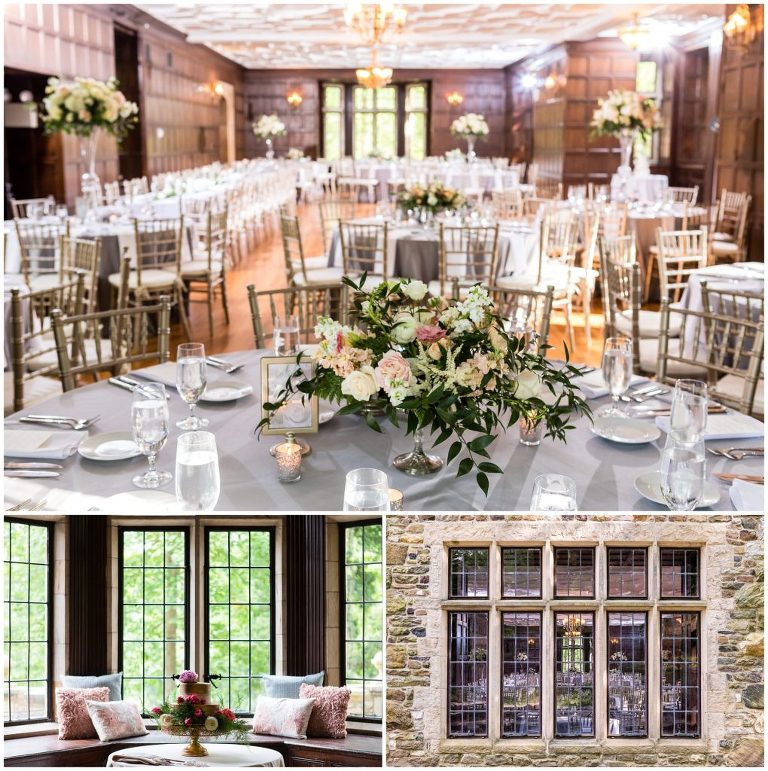 Indoor wedding reception with chandeliers, white and green floral centerpieces, and pillows on the window bench at Parque, Parque wedding, best suburban Philadelphia wedding venues