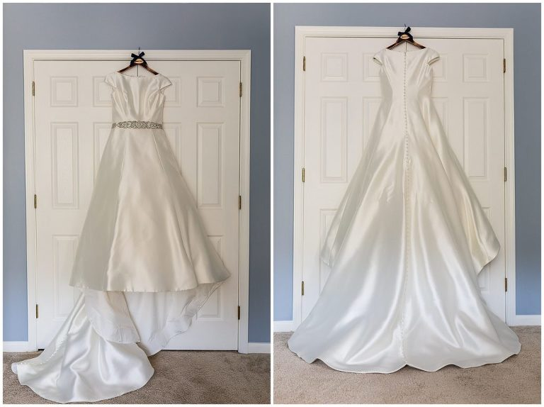 Silk bridal gown with long train and jewel belt