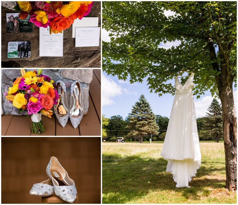 Bridal details with colorful bouquet, shiny shoes, invitation suite, and wedding gown hanging from a tree