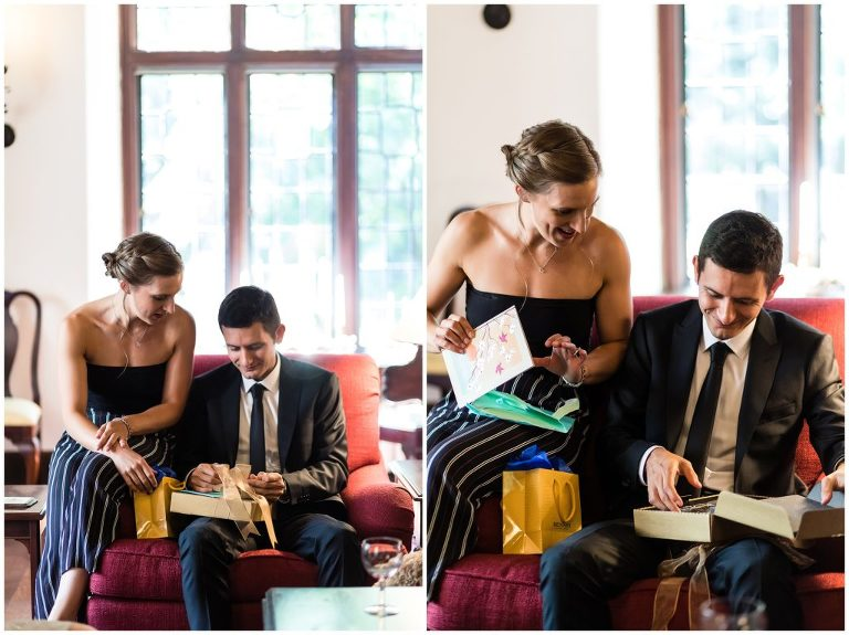 Bride and groom before wedding exchanging gifts and letters