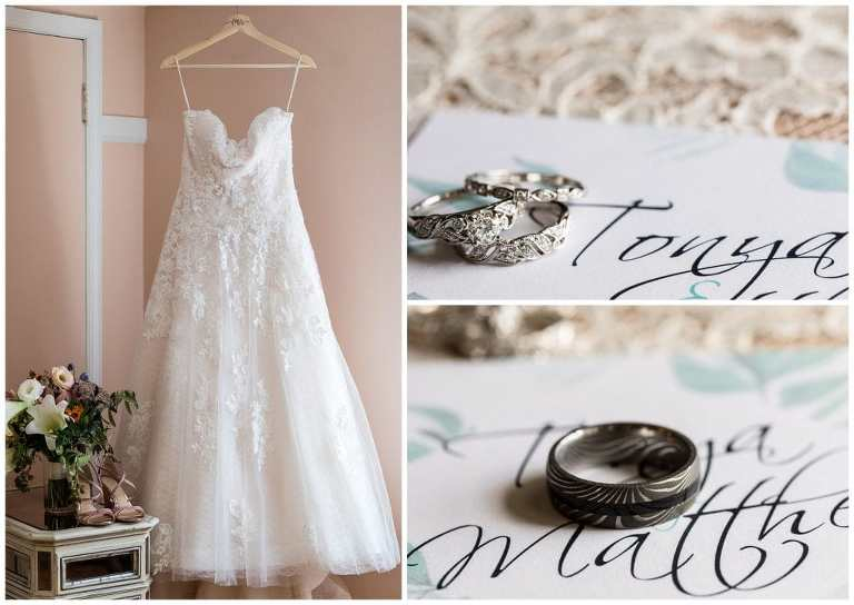 Lace ballgown wedding dress with bouquet and heels, close up of wedding bands on invitations collage
