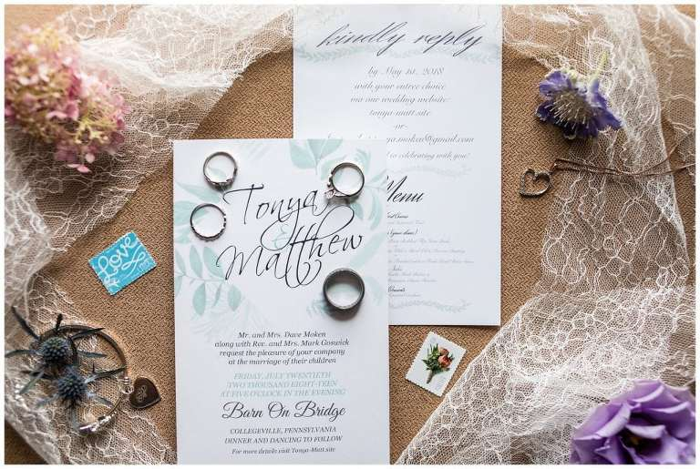 Wedding invitation suite with bridal jewelry, lace, and floral details
