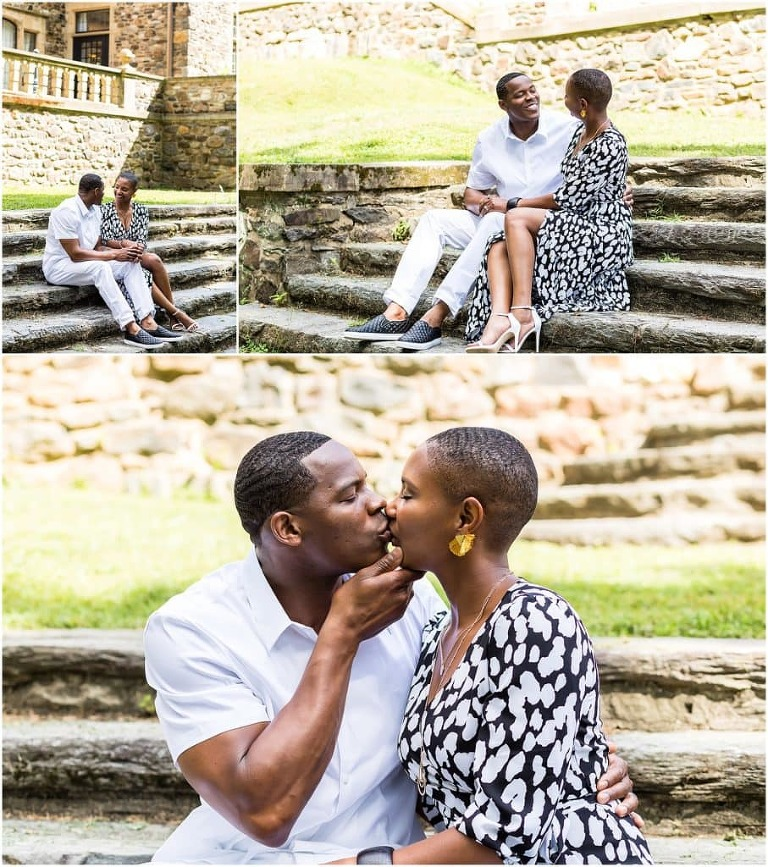 Couple sitting and kissing portrait collage on stone steps at Hunting Hill Mansion at Ridley Creek State Park engagement session