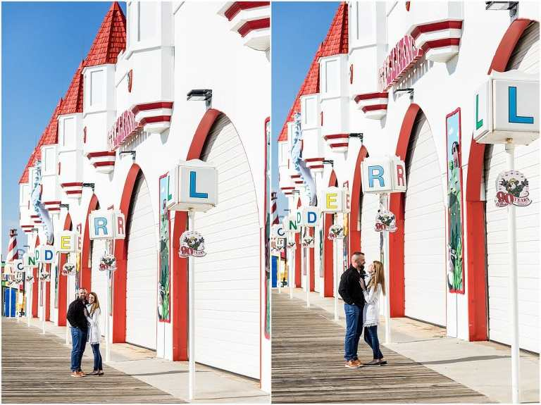 Traditional engagement portraits on Ocean City New Jersey Boardwalk