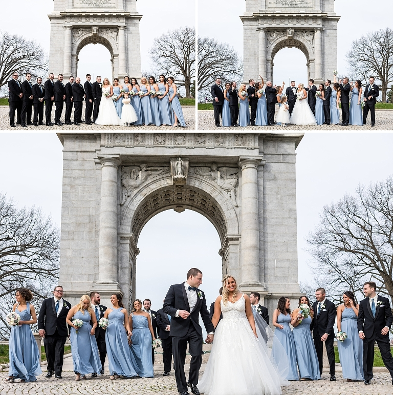 Full Wedding Party Portraits At The Memorial Arch In Valley Forge National Park